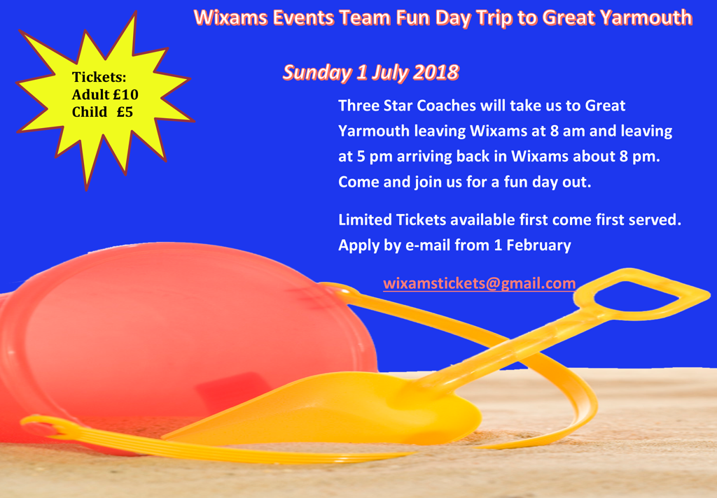 Great Yarmouth Day Trip, Sunday 1st July, Three Star coaches will take us to Great Yarmouth leaving Wixams at 8 am and leaving at 5 pm arriving back in Wixams about 8 pm. Apply by email wixamstickets@gmail.com