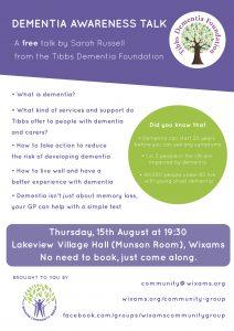 Tibbs Dementia Talk Poster